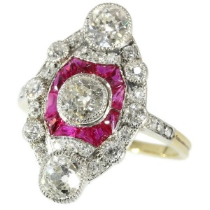 Stunning Belle Epoque Art Deco diamond and ruby engagement ring